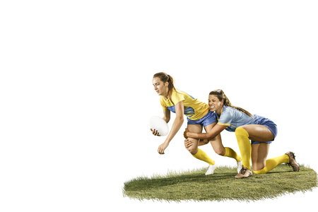 The young female rugby players isolated on white backround