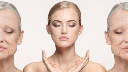 Comparación. Retrato de mujer hermosa con problema y piel limpia, concepto de envejecimiento y juventud, tratamiento de belleza Foto de archivo