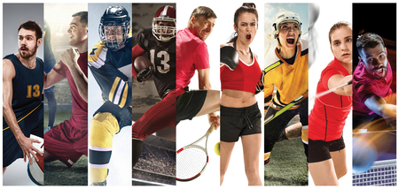 Sport collage about soccer, american football, badminton, tennis, boxing, ice and field hockey, table tennis Stockfoto