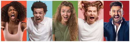 Angry people screaming. The collage of different human facial expressions, emotions and feelings of young men and women. Stock Photo