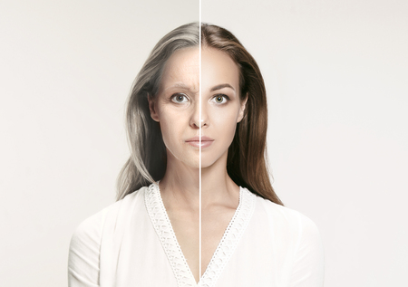 Comparison. Portrait of beautiful woman with problem and clean skin, aging and youth concept, beauty treatment and lifting. Before and after concept. Youth, old age. Process of aging and rejuvenation Stock Photo