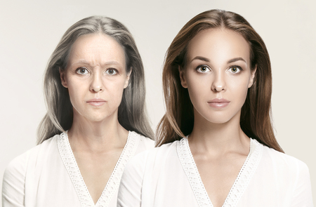 Comparison. Portrait of beautiful woman with problem and clean skin, aging and youth concept, beauty treatment and lifting. Before and after concept. Youth, old age. Process of aging and rejuvenation 스톡 콘텐츠