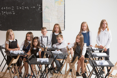 School children in classroom at lesson. The little boys and girls sitting at desks. Back to school, education, classroom, lesson, learn, lifestyle, childhood concept