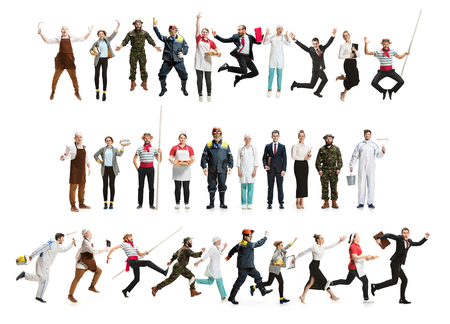 Collage of different professions. Group of men, women in uniform running at studio isolated on white. Full length of people with different occupations. Buisiness, professional concept