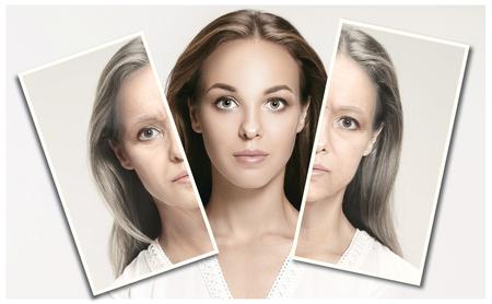 Comparación. Retrato de mujer hermosa con problema y piel limpia, concepto de envejecimiento y juventud, tratamiento de belleza y lifting. Antes y después del concepto. Juventud, vejez. Proceso de envejecimiento y rejuvenecimiento. Foto de archivo
