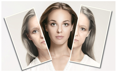 Comparison. Portrait of beautiful woman with problem and clean skin, aging and youth concept, beauty treatment and lifting. Before and after concept. Youth, old age. Process of aging and rejuvenation Фото со стока