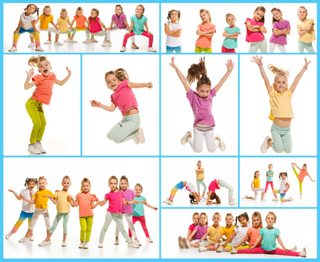 The kids dance school, ballet, hiphop, street, funky and modern dancers on white studio background. Girl is showing aerobic and dance element. Teen in hip hop style. Collage Banque d'images - 107284606