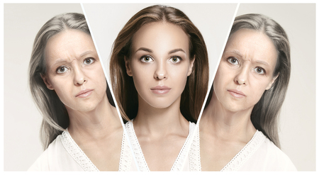 Comparison. Portrait of beautiful woman with problem and clean skin, aging and youth concept, beauty treatment and lifting. Before and after concept. Youth, old age. Process of aging and rejuvenation Standard-Bild