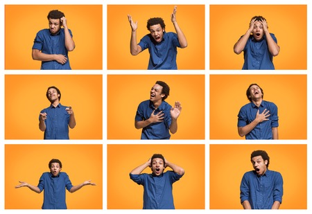The collage of different human facial expressions, emotions and feelings of young man. Happy business afro man standing and smiling isolated on studio background. Human emotions, facial expression concept.