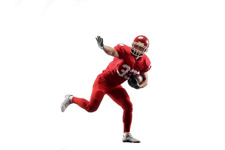 アクティブな1アメリカンフットボール選手は、白い背景に隔離。ジャンプや動きでスタジオの背景を飛び越える制服で白人男性をフィットさせます。人間の感情と表情の概念 写真素材 - 107569355