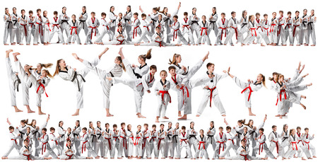 The collage about group of kids training karate martial arts and posing on white backlground. The attack, sport, taekwondo, children activity concept