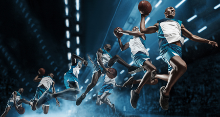 Collage. Basketball player in motion or movement on big professional arena during the game. Player making slam dunk. unbranded uniform. attack and decisive blow concept. professorial afro american athlete