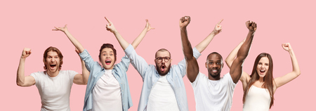 Collage of winning success happy men and women celebrating being a winner. Dynamic image of caucasian male and female models on blue studio background. Victory, delight concept. Human facial emotions Stockfoto