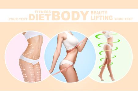 Le plan d'élimination de la cellulite. Marques blanches sur le corps de la jeune femme se préparant à la chirurgie plastique. Concept d'amincissement, liposuccion, lifting des mèches. Collage