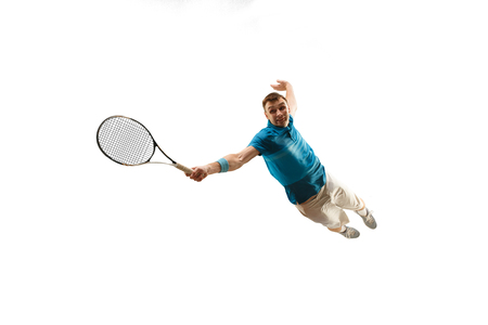 The one caucasian man playing tennis isolated on white background.