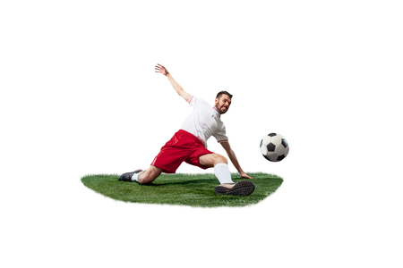Football player tackling for the ball over white background.