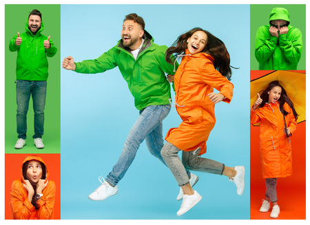 Collage about young woman and handsome bearded freezing young man isolated on vivid trendy colors at studio. concept of the onset of autumn and cold and fashion clothers Stock Photo