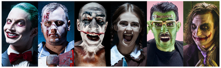 The crazy clown holding a knife on dack. Halloween concept of horror and murderer. collage Stock Photo