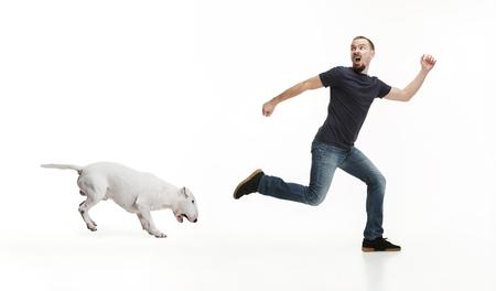 Ritratto emotivo dell'uomo spaventato e del suo cane, concetto di amicizia e cura dell'uomo e dell'animale. Bull Terrier tipo cane su sfondo bianco studio