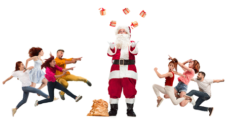 Happy running Christmas people over white background. Full length of people with different occupations. Christmas and holiday concept Imagens