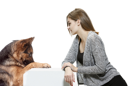 The smiling woman and her dog over white background. Shetland Sheepdog sitting in front of a white studio background. The concept of humans and animals same emotions