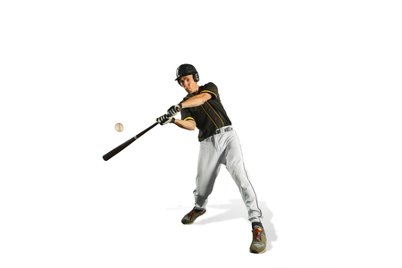 The fit caucasian man baseball player playing in studio. silhouette isolated on white background