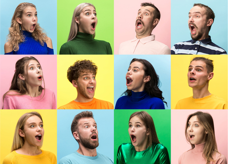 The surprised and astonished young woman and man screaming with open mouth isolated on colorful background. concept of shock face human emotion Stock Photo
