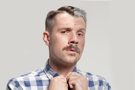 Collage de dos retratos del mismo anciano y joven. Concepto de lifting facial, envejecimiento y cuidado de la piel para hombres. Comparación entre rostros viejos y jóvenes. Juventud y vejez. Proceso de envejecimiento y rejuvenecimiento.