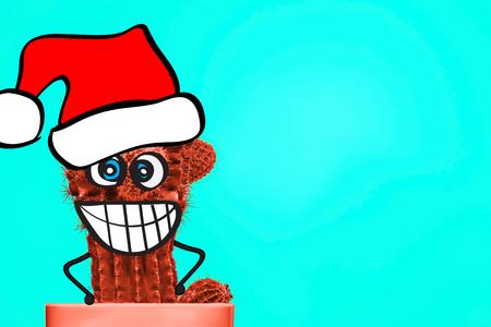 Cactus hipster man with santa hat. Tropical Christmas concept. Minimal fun art. Fashion set design. Stillife. Trendy bright colors.