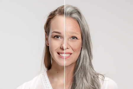 Comparación. Retrato de mujer hermosa con problema y piel limpia, concepto de envejecimiento y juventud