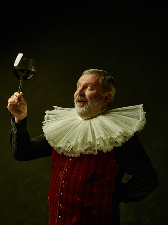 Official portrait of historical governor from the golden age with corrugated round collar with a glass of red wine. Studio shot against dark wall. Stock fotó - 113997432