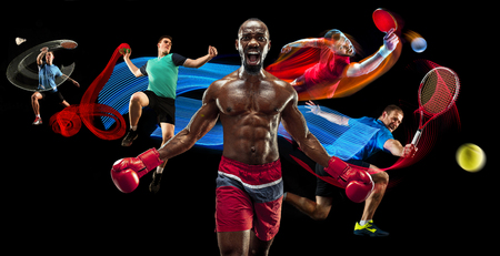 Attack. Sport collage about badminton, tennis, boxing and handball players on black Archivio Fotografico - 114335698