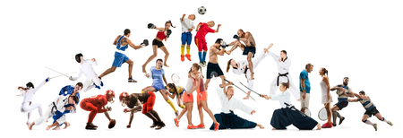 Attack. Sport collage about kickboxing, soccer, american football, aikido, rugby, judo, fencing, badminton, taekwondo, tennis and boxing players on white background