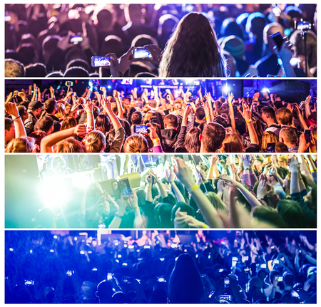 Rock concert, silhouettes of happy people raising up hands. Collage. The music, party, event, festival, dance, entertainment and nightclub concept