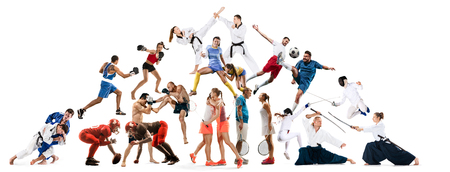 Attack. Sport collage about kickboxing, soccer, american football, aikido, rugby, judo, fencing, badminton and tennis and boxing on white background Stockfoto