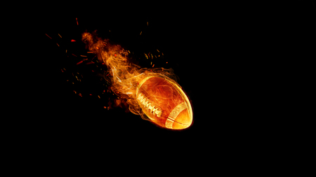 American football ball in fire on black. game concept. Mixed media