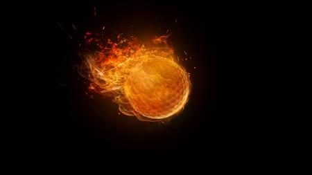 Golf ball on Fire Burning, motion Blur. sport, game, speed concept 版權商用圖片