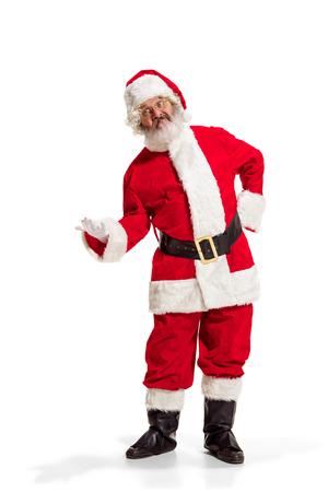Hey, hello. Holly jolly x mas festive noel. Full length of funny happy santa in costume