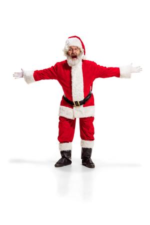 Hey, hello. Holly jolly x mas festive noel. Full length of funny happy santa Stock Photo