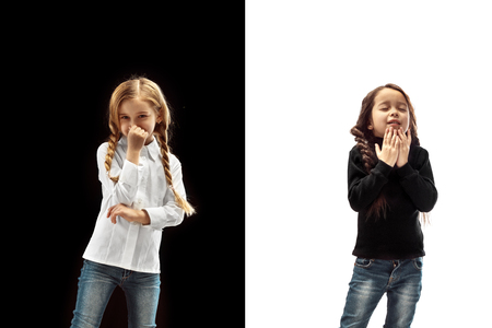 The studio shot of girl is blowing her nose at studio. Human emotions concept. Comparison of different emotions. Stock Photo