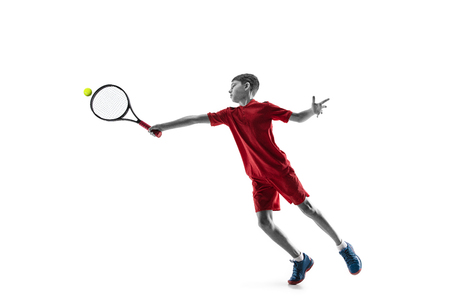 Young teen boy tennis player in motion or movement isolated on white studio Banque d'images - 115527504