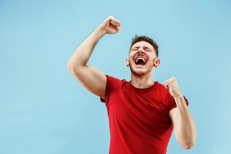 I won. Winning success happy man celebrating being a winner.