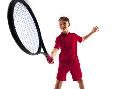 Young teen boy tennis player in motion or movement isolated on white studio Banque d'images - 115525761