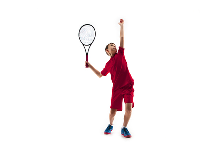 Young teen boy tennis player in motion or movement isolated on white studio