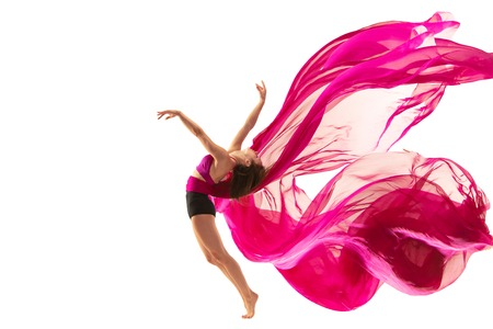 Graceful ballet dancer or classic ballerina dancing isolated on white studio. Woman dancing with pink silk cloth. The dance, performer, flexibility, elegance, performance, grace, artist, contemporary concept