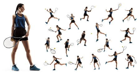 The collage about young woman playing tennis isolated on white background. Healthy lifestyle. The practicing, fitness, sport, exercise concept. The female model in motion or movement