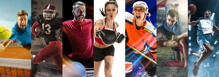 Attack. Sport collage about soccer, american football, table tennis, boxing, ice hockey, tennis and basketball players in motion. Adult athletes in action Stock Photo