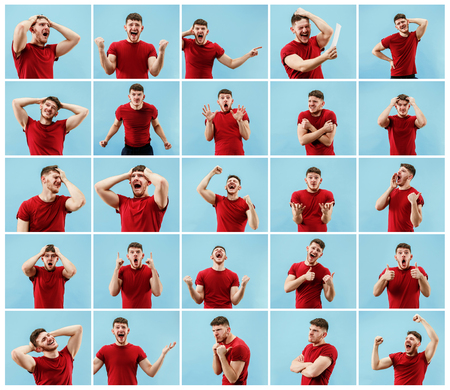 The collage of different human facial expressions, emotions and feelings of young man. Happy business man standing and smiling isolated on studio background. Human emotions, facial expression concept.