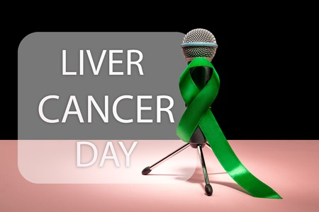 Liver Cancer and Hepatitis B - HVB Awareness month ribbon, Emerald Green or Jade ribbon awareness color on pink background. The cancer, health, help, care, support, hope, illness, survivor, healthcare concept