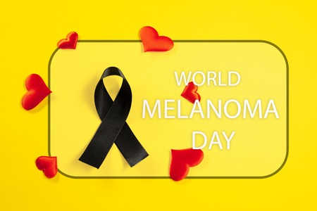 Black ribbon-symbol of fight against melanoma and skin cancer. The cancer, health, breast, awareness, campaign, disease, help, care, support, hope illness survivor healthcare concept